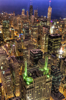 Photograph - Chicago Skyline At Night 1 by Michael  Bennett
