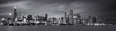 Den Art Photograph - Chicago Skyline At Night Black And White Panoramic by Adam Romanowicz