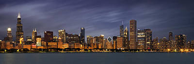 Den Art Photograph - Chicago Skyline At Night Color Panoramic by Adam Romanowicz