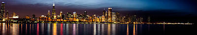 Chicago Skyline At Night Panoramic Art Print