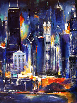 Chicago At Night Painting - Chicago Skyline At Night by Kathleen Patrick