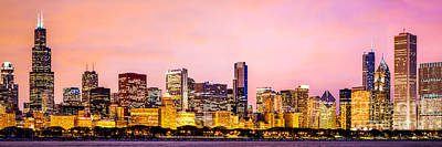 Skylines Royalty-Free and Rights-Managed Images - Chicago Skyline at Night Panorama Picture by Paul Velgos