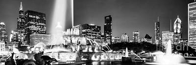 Chicago Skyline Photograph - Chicago Skyline At Night Panoramic Picture by Paul Velgos