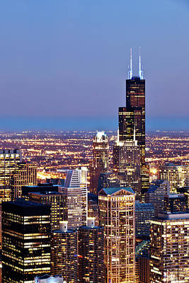 Photograph - Chicago Skyline At Night by Plan Shoot / Multi-bits
