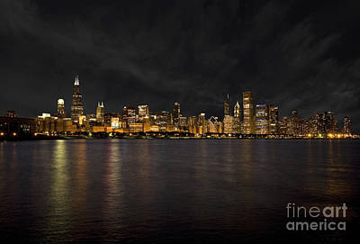 Chicago Skyline At Night Art Print by Timothy Johnson