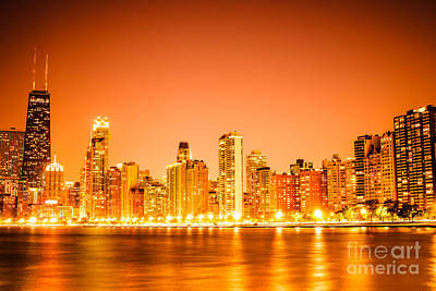 Midwest Photograph - Chicago Skyline At Night With Orange Sky by Paul Velgos