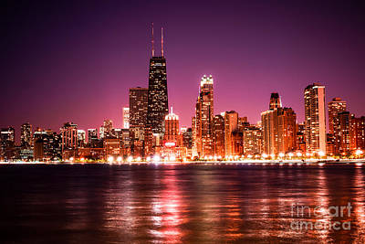 Violet Photograph - Chicago Skyline At Night With Violet Sky by Paul Velgos