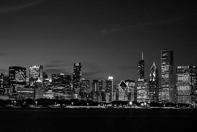 Photograph - Chicago Skyline Black And White by John McArthur