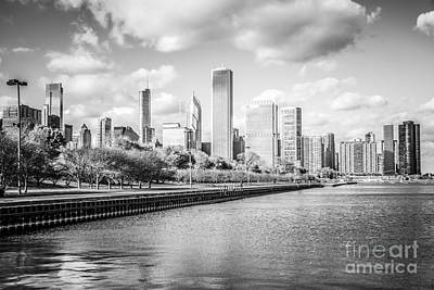Chicago Skyline Black And White Photo Art Print by Paul Velgos