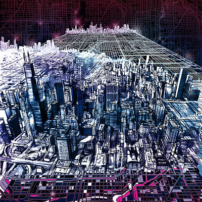 Chicago Skyline Black Verson Print by Bekim Art