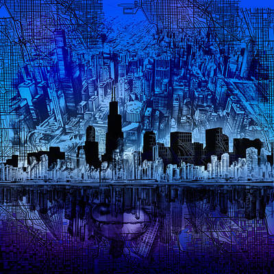 Skylines Paintings - Chicago Skyline Blue Version by Bekim Art