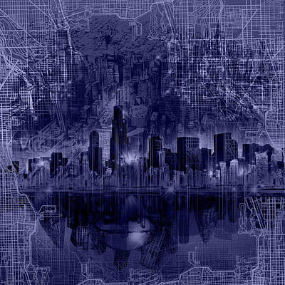 Painting - Chicago Skyline Blueprint by Bekim Art