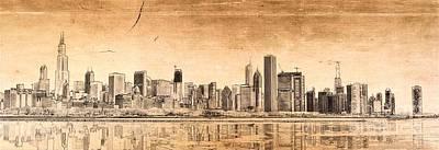 Chicago River Digital Art - Chicago Skyline by Dejan Jovanovic