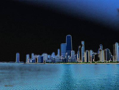 Hancock Building Mixed Media - Chicago Skyline Highlighted by Skyler Tipton