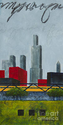 Chicago Skyline Mixed Media - Chicago Skyline I by Sandra Neumann Wilderman
