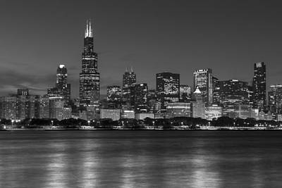 Photograph - Chicago Skyline In Black And White  by John McGraw