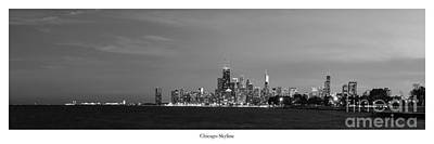 Sky Line Photograph - Chicago Skyline In Black And White by Twenty Two North Photography