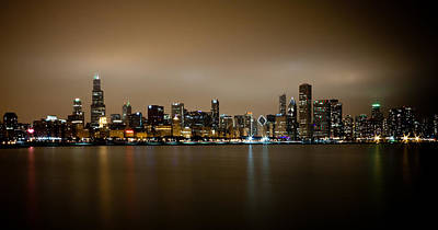 Modern Kitchen - Chicago Skyline in Fog with Reflection by Anthony Doudt