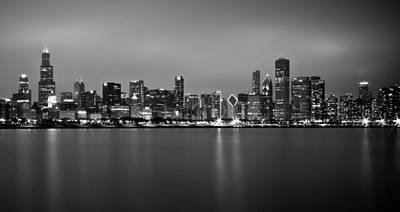 Photograph - Chicago Skyline In Fog With Reflection - Black And White by Anthony Doudt