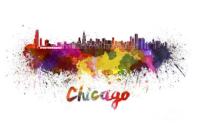 Chicago Skyline Painting - Chicago Skyline In Watercolor by Pablo Romero
