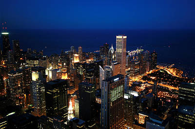 Arial View Photograph - Chicago Skyline by Ken Reardon
