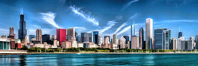 Chicago Skyline Painting - Chicago Skyline Panorama by Christopher Arndt