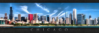 Chicago Skyline Painting - Chicago Skyline Panorama Poster by Christopher Arndt