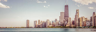 Chicago Skyline Panorama Retro Photo Art Print by Paul Velgos