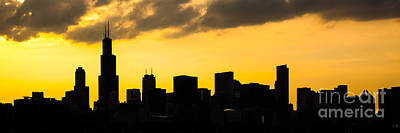 Chicago Skyline Panorama Sunset Photo Art Print by Paul Velgos