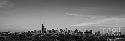 Sports Royalty-Free and Rights-Managed Images - Chicago Skyline Panoramic Black and White by David Haskett II