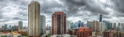 Photograph - Chicago Skyline - Sears Tower 6 Shot Panorama by Michael  Bennett