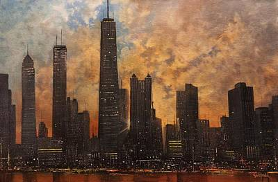 Chicago At Night Painting - Chicago Skyline Silhouette by Tom Shropshire