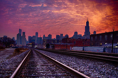 Chicago Skyline Sunrise December 1 2013 02 Art Print