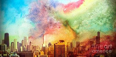 Chicago Skyline Watercolor Sky Art Print by Linda Matlow