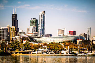 Building Photograph - Chicago Skyline With Soldier Field by Paul Velgos