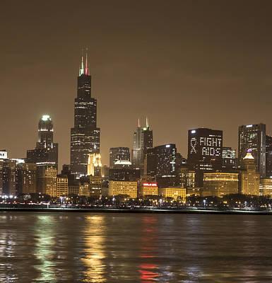 Chicago Skyline - World Aids Day 12/1/12 Art Print by Peter Ciro