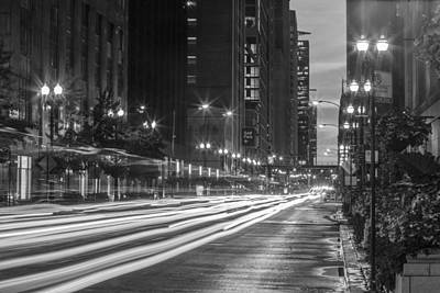 Photograph - Chicago Street With Long Exposure by John McGraw