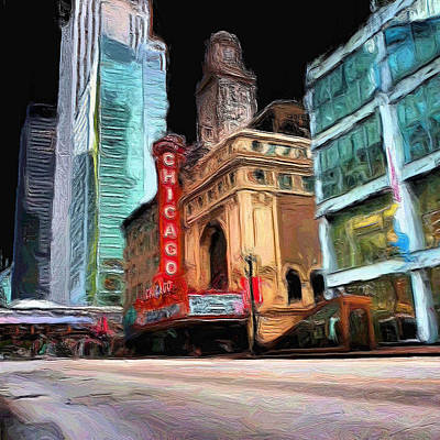 Chicago Painting - Chicago Theater - 22 by Ely Arsha