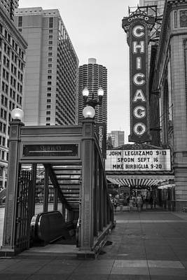 Photograph - Chicago Theater And Subway Black And White by John McGraw