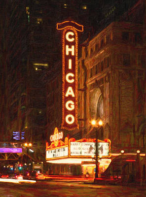 Windy Mixed Media - Chicago Theater by Celestial Images