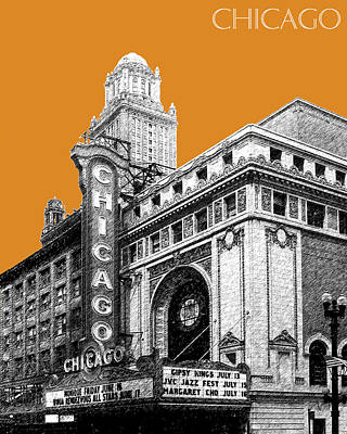 Pen And Ink Digital Art - Chicago Theater - Dark Orange by DB Artist