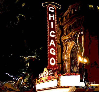 Chicago Theater Sign  Art Print by Sophie Vigneault