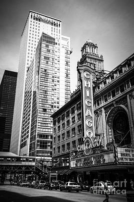 City Scenes Royalty-Free and Rights-Managed Images - Chicago Theatre Black and White Picture by Paul Velgos