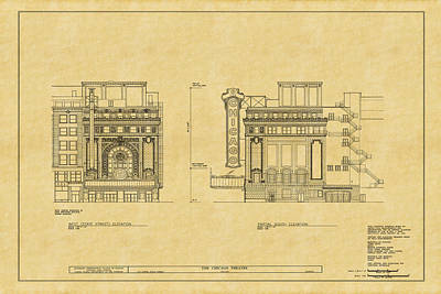 Historic Buildings Drawings Photograph - Chicago Theatre Blueprint 2 by Andrew Fare