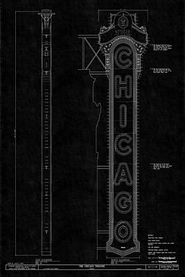 Photograph - Chicago Theatre Blueprint 3 by Andrew Fare