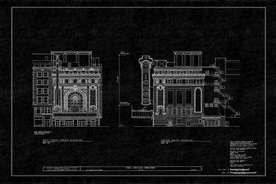 Photograph - Chicago Theatre Blueprint 4 by Andrew Fare