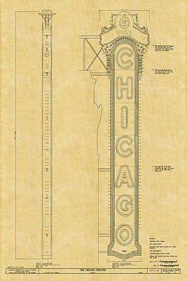 Historic Buildings Drawings Photograph - Chicago Theatre Blueprint by Andrew Fare