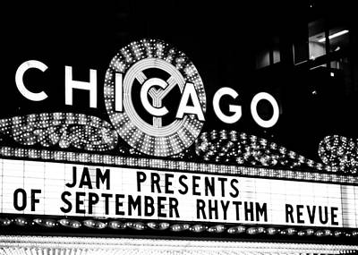 Photograph - Chicago Theatre In Black And White by Anthony Doudt