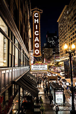 Photograph - Chicago Theatre Marquee Red Carpet Premiere On State Street by Linda Matlow