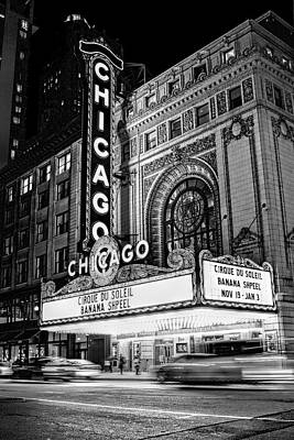 Chicago Theatre Photograph - Chicago Theatre Marquee Sign At Night Black And White by Christopher Arndt